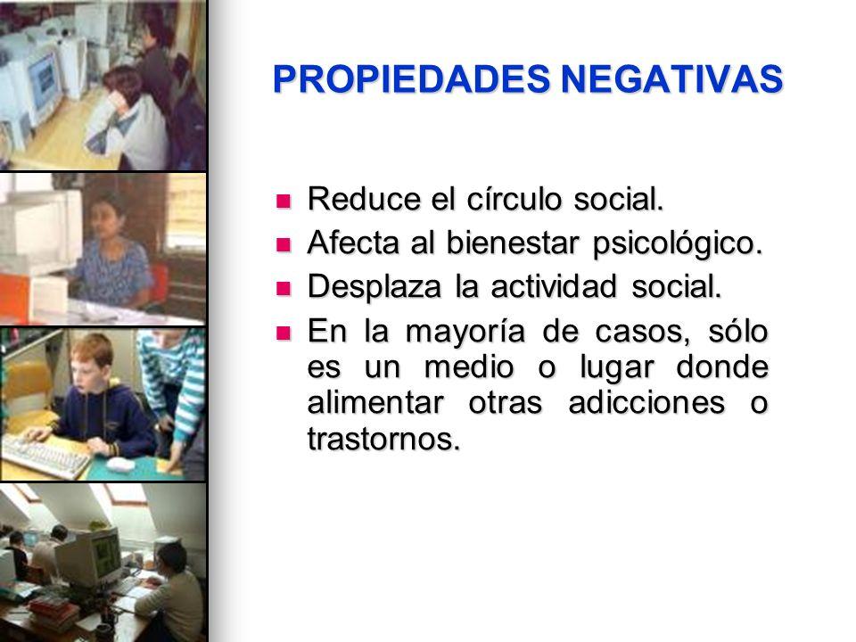 PROPIEDADES NEGATIVAS Reduce el círculo social. Reduce el círculo social. Afecta al bienestar psicológico. Afecta al bienestar psicológico. Desplaza l