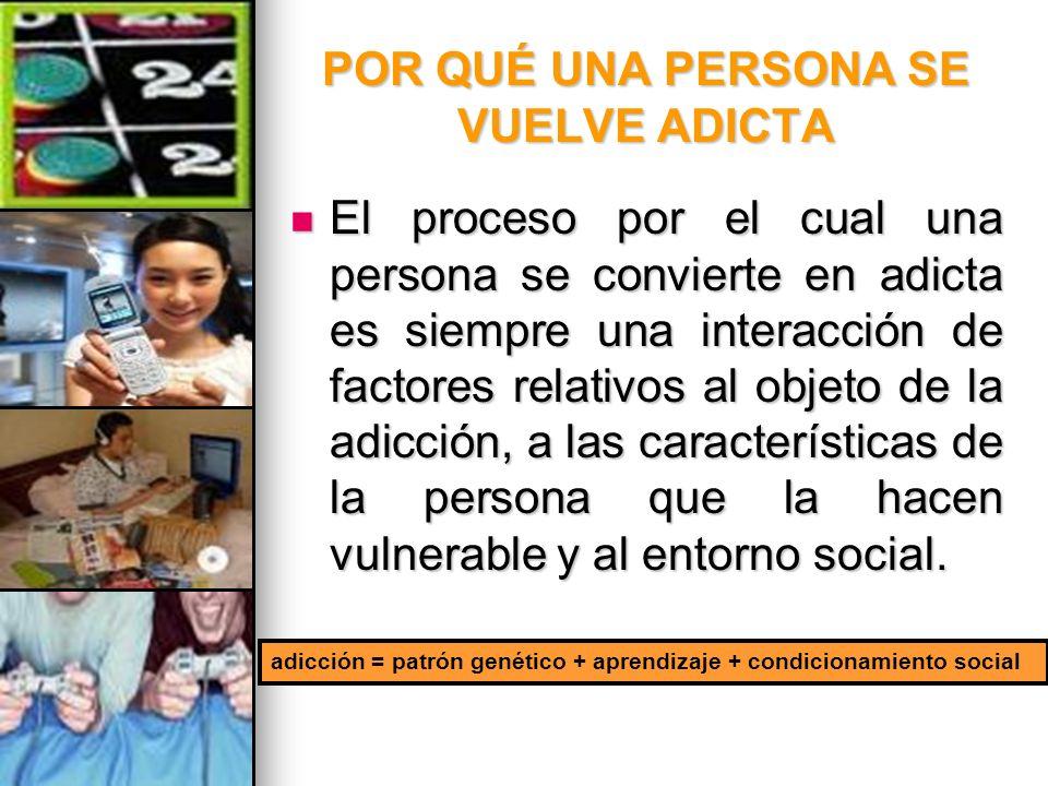 POR QUÉ UNA PERSONA SE VUELVE ADICTA El proceso por el cual una persona se convierte en adicta es siempre una interacción de factores relativos al obj