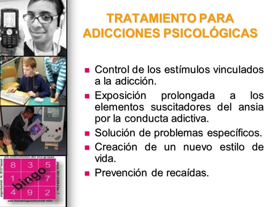 TRATAMIENTO PARA ADICCIONES PSICOLÓGICAS Control de los estímulos vinculados a la adicción. Control de los estímulos vinculados a la adicción. Exposic