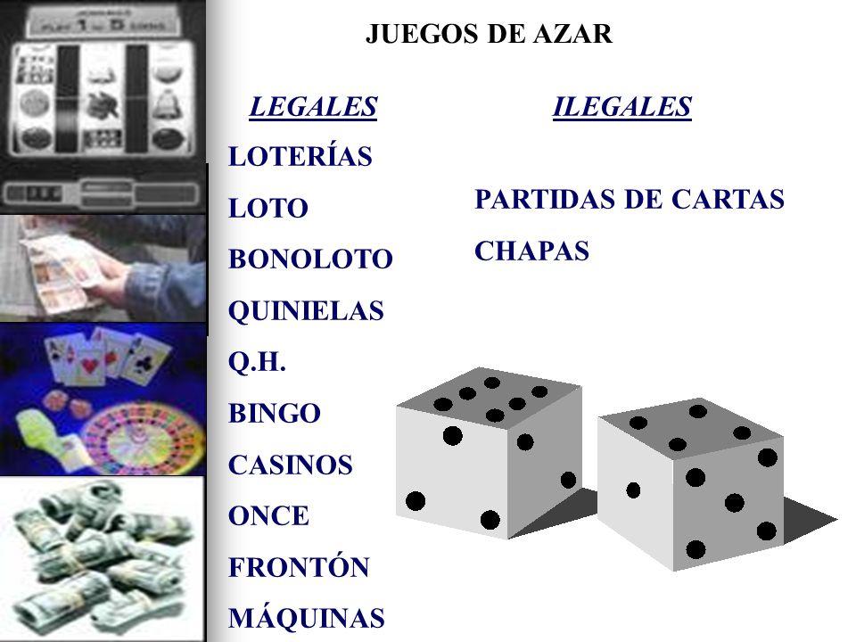 LEGALES LOTERÍAS LOTO BONOLOTO QUINIELAS Q.H. BINGO CASINOS ONCE FRONTÓN MÁQUINAS ILEGALES PARTIDAS DE CARTAS CHAPAS JUEGOS DE AZAR