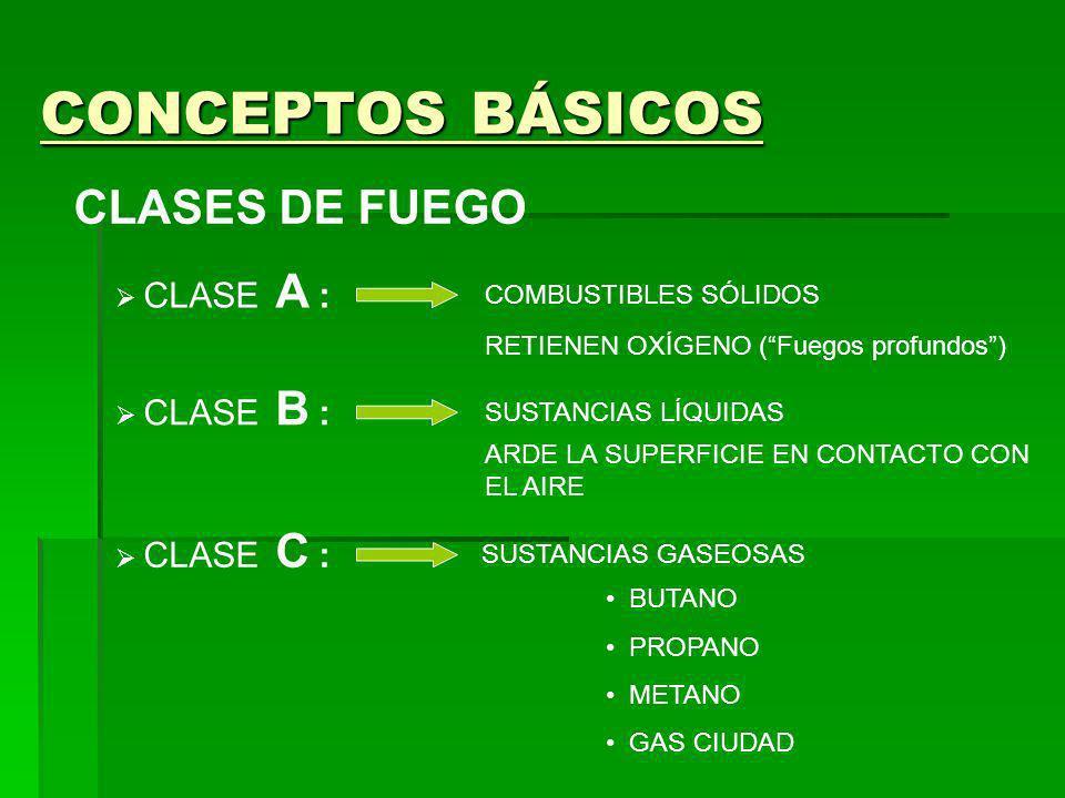 CONCEPTOS BÁSICOS CLASES DE FUEGO CLASE A : COMBUSTIBLES SÓLIDOS RETIENEN OXÍGENO (Fuegos profundos) CLASE B : SUSTANCIAS LÍQUIDAS ARDE LA SUPERFICIE