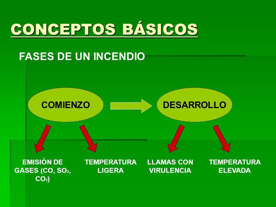 CONCEPTOS BÁSICOS FASES DE UN INCENDIO EMISIÓN DE GASES (CO, SO 2, CO 2 ) LLAMAS CON VIRULENCIA TEMPERATURA LIGERA TEMPERATURA ELEVADA COMIENZODESARRO