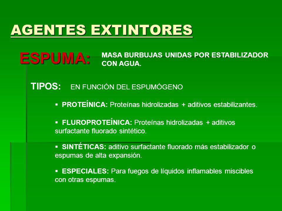 AGENTES EXTINTORES ESPUMA: MASA BURBUJAS UNIDAS POR ESTABILIZADOR CON AGUA. TIPOS: EN FUNCIÓN DEL ESPUMÓGENO PROTEÍNICA: Proteínas hidrolizadas + adit