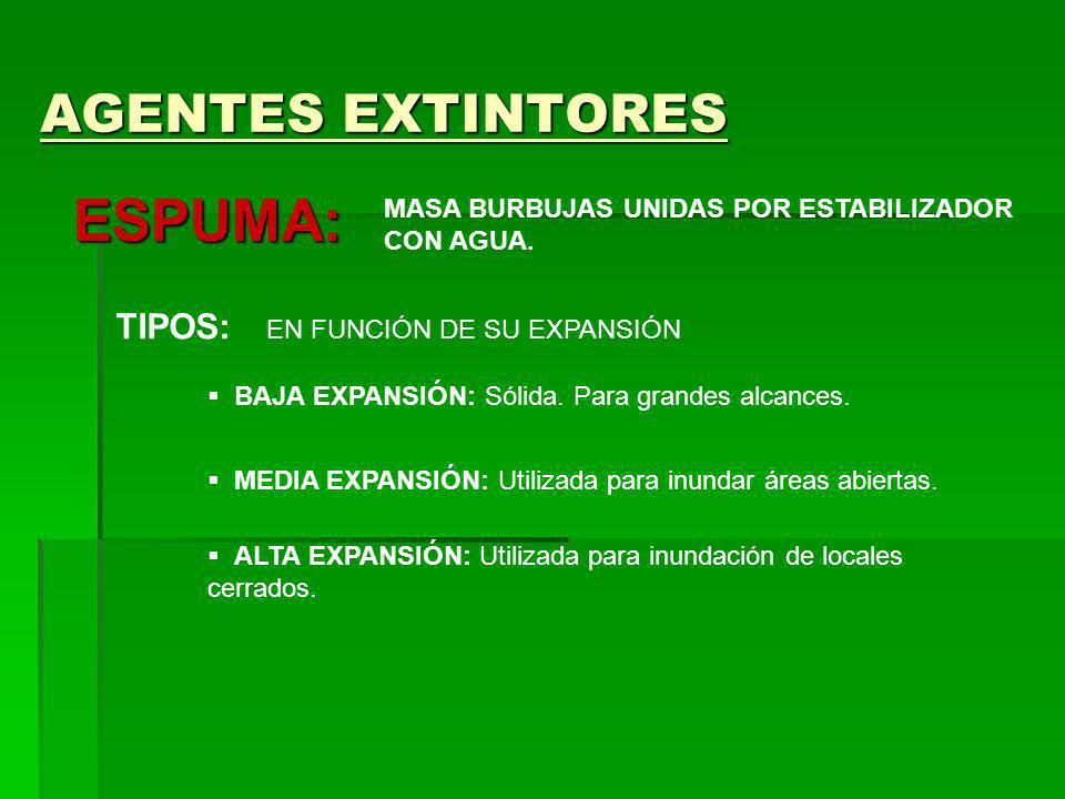 AGENTES EXTINTORES ESPUMA: MASA BURBUJAS UNIDAS POR ESTABILIZADOR CON AGUA. TIPOS: EN FUNCIÓN DE SU EXPANSIÓN BAJA EXPANSIÓN: Sólida. Para grandes alc