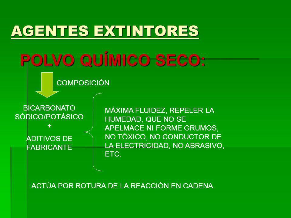AGENTES EXTINTORES POLVO QUÍMICO SECO: COMPOSICIÓN BICARBONATO SÓDICO/POTÁSICO + ADITIVOS DE FABRICANTE MÁXIMA FLUIDEZ, REPELER LA HUMEDAD, QUE NO SE