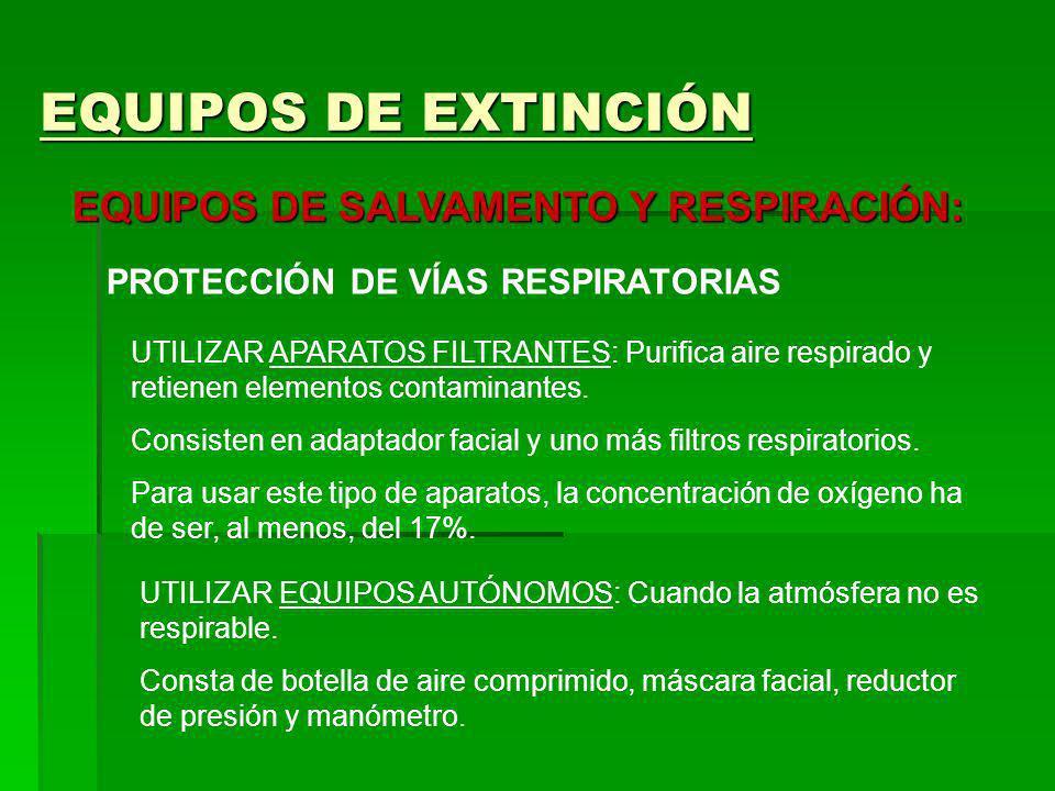 EQUIPOS DE EXTINCIÓN EQUIPOS DE SALVAMENTO Y RESPIRACIÓN: PROTECCIÓN DE VÍAS RESPIRATORIAS UTILIZAR APARATOS FILTRANTES: Purifica aire respirado y ret