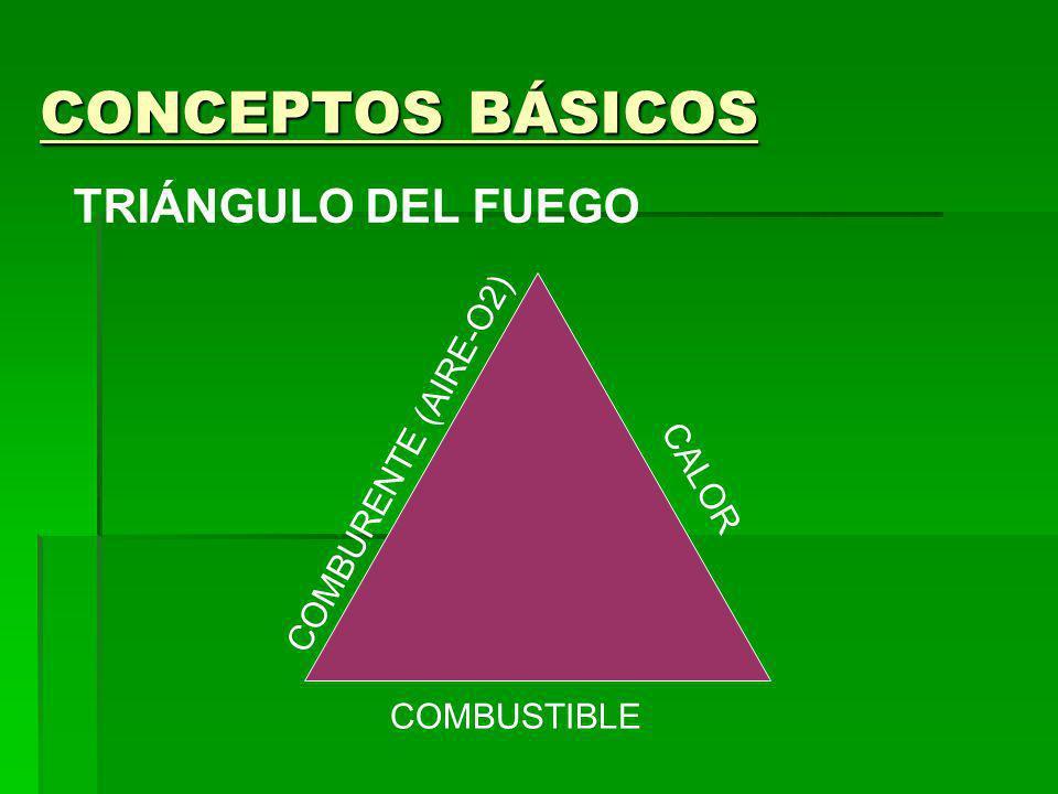 CONCEPTOS BÁSICOS TRIÁNGULO DEL FUEGO COMBURENTE (AIRE-O2) CALOR COMBUSTIBLE