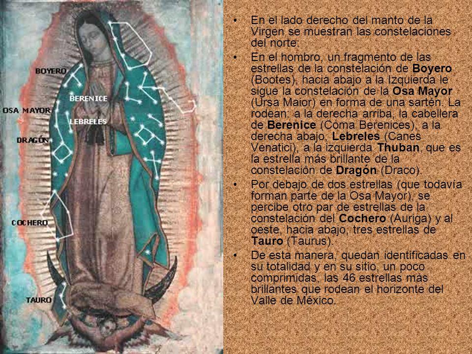 En el lado derecho del manto de la Virgen se muestran las constelaciones del norte: En el hombro, un fragmento de las estrellas de la constelación de