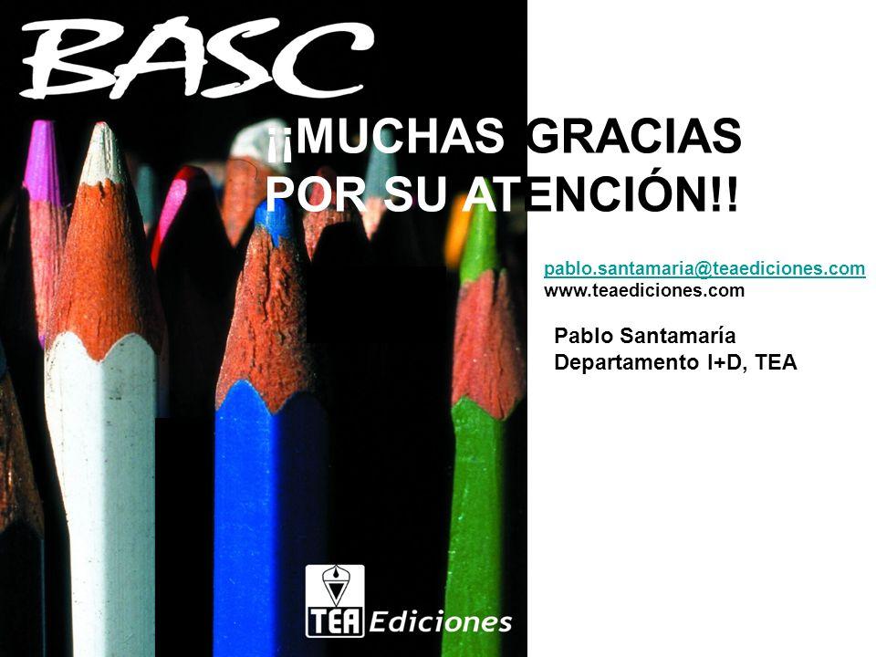 ¡¡MUCHAS GRACIAS POR SU ATENCIÓN!! Pablo Santamaría Departamento I+D, TEA pablo.santamaria@teaediciones.com www.teaediciones.com