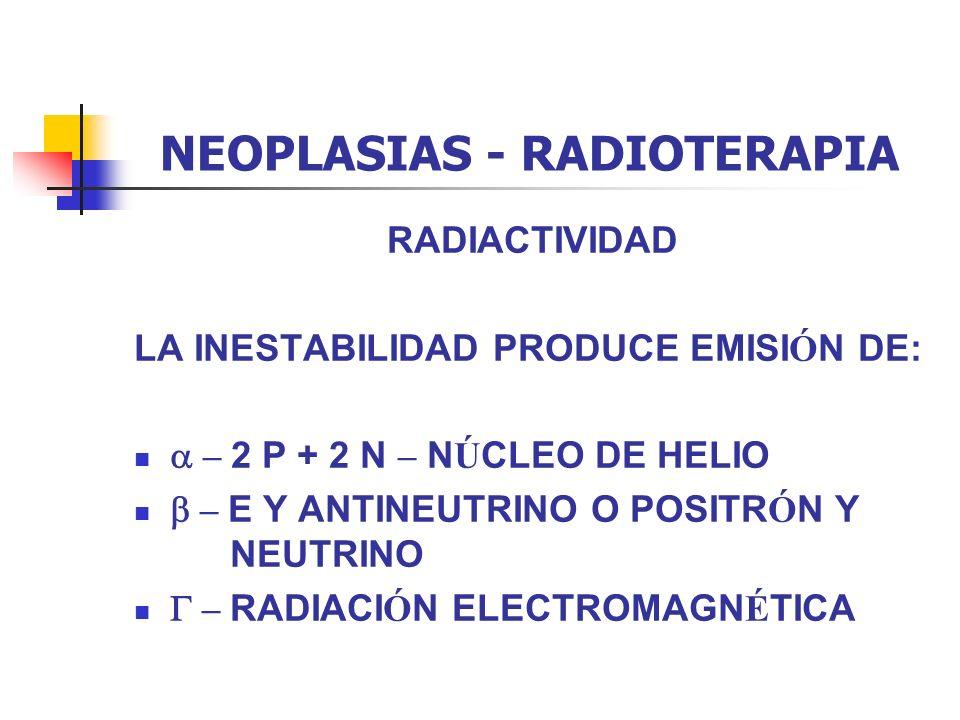 NEOPLASIAS - RADIOTERAPIA RADIACTIVIDAD LA INESTABILIDAD PRODUCE EMISI Ó N DE: – 2 P + 2 N – N Ú CLEO DE HELIO – E Y ANTINEUTRINO O POSITR Ó N Y NEUTR