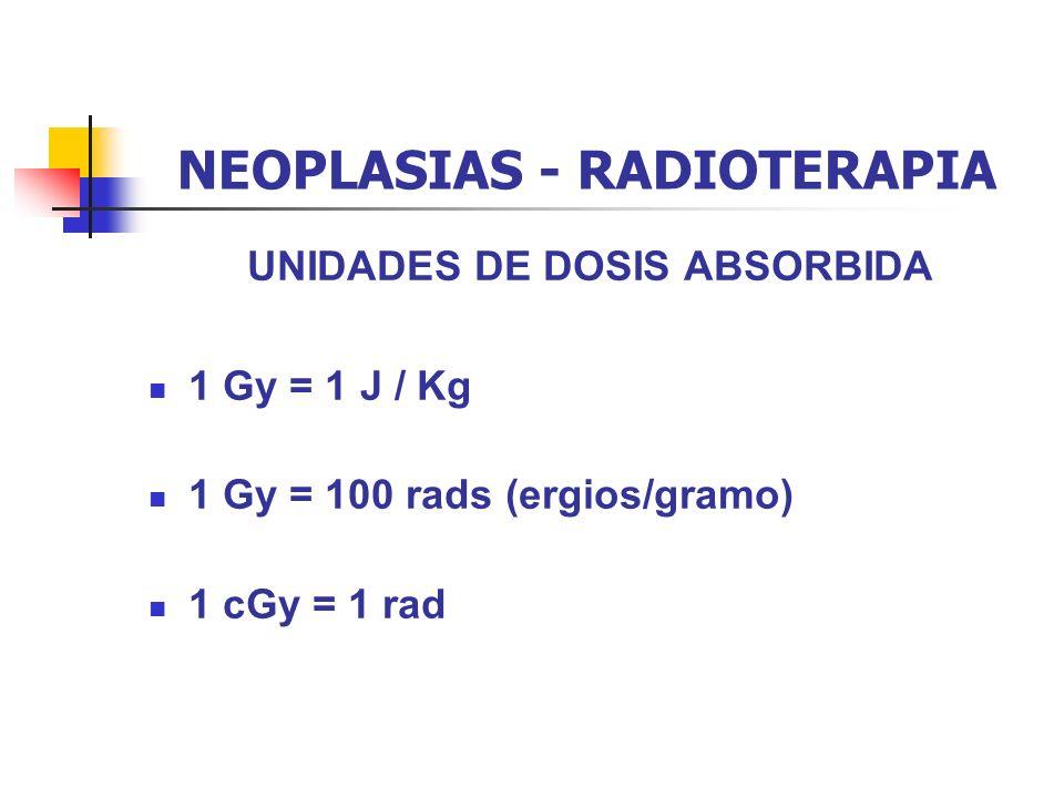 NEOPLASIAS - RADIOTERAPIA UNIDADES DE DOSIS ABSORBIDA 1 Gy = 1 J / Kg 1 Gy = 100 rads (ergios/gramo) 1 cGy = 1 rad