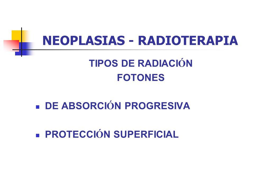 NEOPLASIAS - RADIOTERAPIA TIPOS DE RADIACI Ó N FOTONES DE ABSORCI Ó N PROGRESIVA PROTECCI Ó N SUPERFICIAL