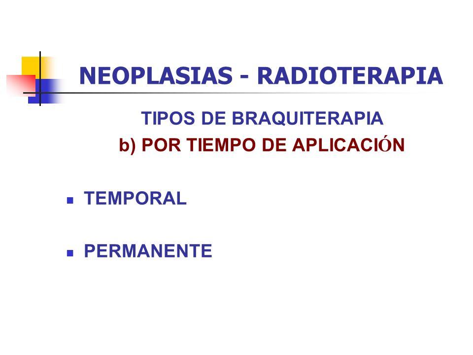 NEOPLASIAS - RADIOTERAPIA TIPOS DE BRAQUITERAPIA b) POR TIEMPO DE APLICACI Ó N TEMPORAL PERMANENTE