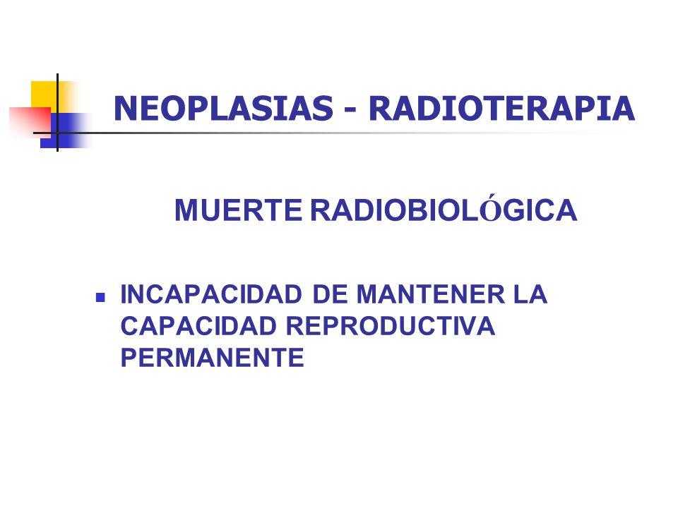 NEOPLASIAS - RADIOTERAPIA MUERTE RADIOBIOL Ó GICA INCAPACIDAD DE MANTENER LA CAPACIDAD REPRODUCTIVA PERMANENTE