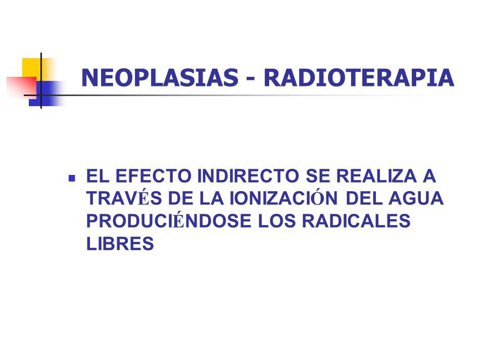 NEOPLASIAS - RADIOTERAPIA EL EFECTO INDIRECTO SE REALIZA A TRAV É S DE LA IONIZACI Ó N DEL AGUA PRODUCI É NDOSE LOS RADICALES LIBRES