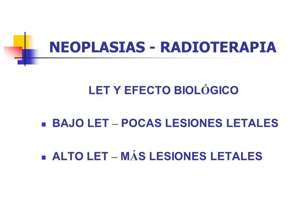 NEOPLASIAS - RADIOTERAPIA LET Y EFECTO BIOL Ó GICO BAJO LET – POCAS LESIONES LETALES ALTO LET – M Á S LESIONES LETALES