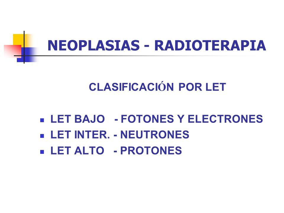 NEOPLASIAS - RADIOTERAPIA CLASIFICACI Ó N POR LET LET BAJO - FOTONES Y ELECTRONES LET INTER. - NEUTRONES LET ALTO - PROTONES