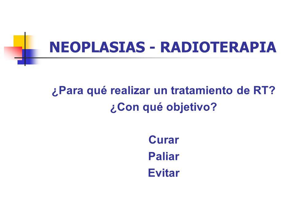 NEOPLASIAS - RADIOTERAPIA ¿Para qué realizar un tratamiento de RT? ¿Con qué objetivo? Curar Paliar Evitar