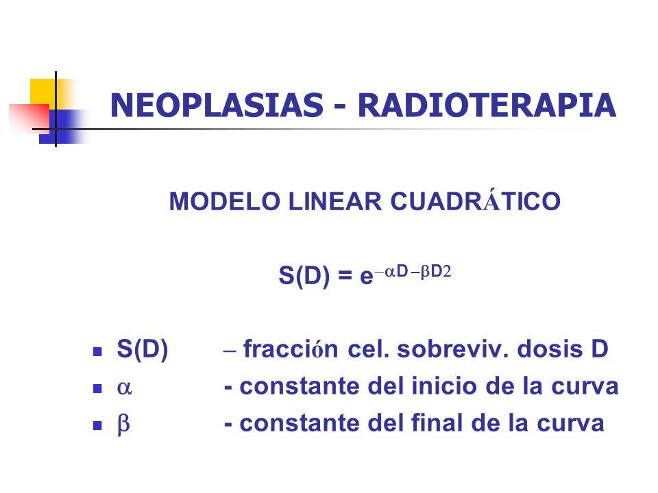 MODELO LINEAR CUADR Á TICO S(D) = e D – D S(D) – fracci ó n cel. sobreviv. dosis D - constante del inicio de la curva - constante del final de la curv