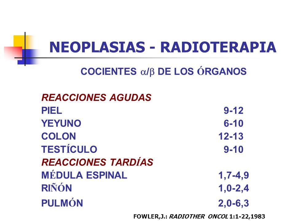 NEOPLASIAS - RADIOTERAPIA COCIENTES / DE LOS Ó RGANOS REACCIONES AGUDAS PIEL 9-12 YEYUNO 6-10 COLON12-13 TEST Í CULO 9-10 REACCIONES TARD Í AS M É DUL