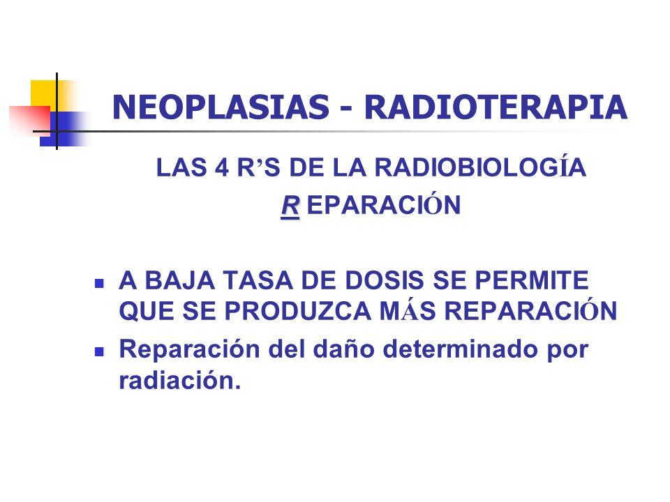 NEOPLASIAS - RADIOTERAPIA LAS 4 R S DE LA RADIOBIOLOG Í A R R EPARACI Ó N A BAJA TASA DE DOSIS SE PERMITE QUE SE PRODUZCA M Á S REPARACI Ó N Reparació