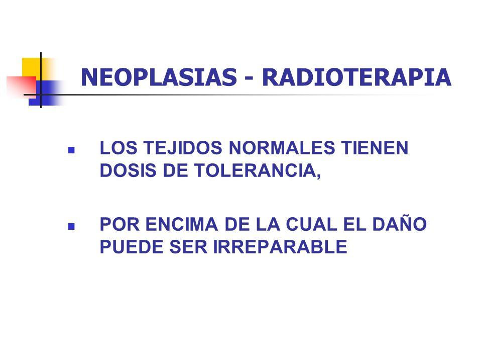 NEOPLASIAS - RADIOTERAPIA LOS TEJIDOS NORMALES TIENEN DOSIS DE TOLERANCIA, POR ENCIMA DE LA CUAL EL DAÑO PUEDE SER IRREPARABLE