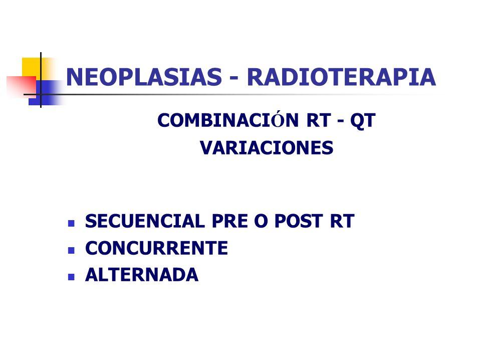 NEOPLASIAS - RADIOTERAPIA COMBINACI Ó N RT - QT VARIACIONES SECUENCIAL PRE O POST RT CONCURRENTE ALTERNADA