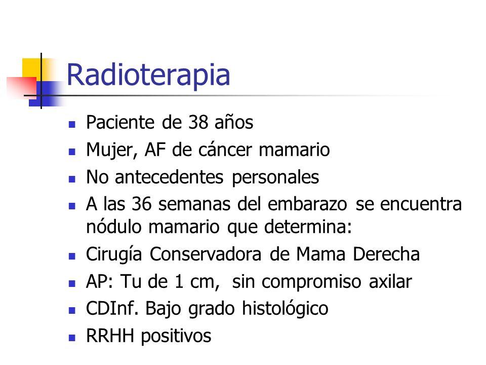 Radioterapia Paciente de 38 años Mujer, AF de cáncer mamario No antecedentes personales A las 36 semanas del embarazo se encuentra nódulo mamario que