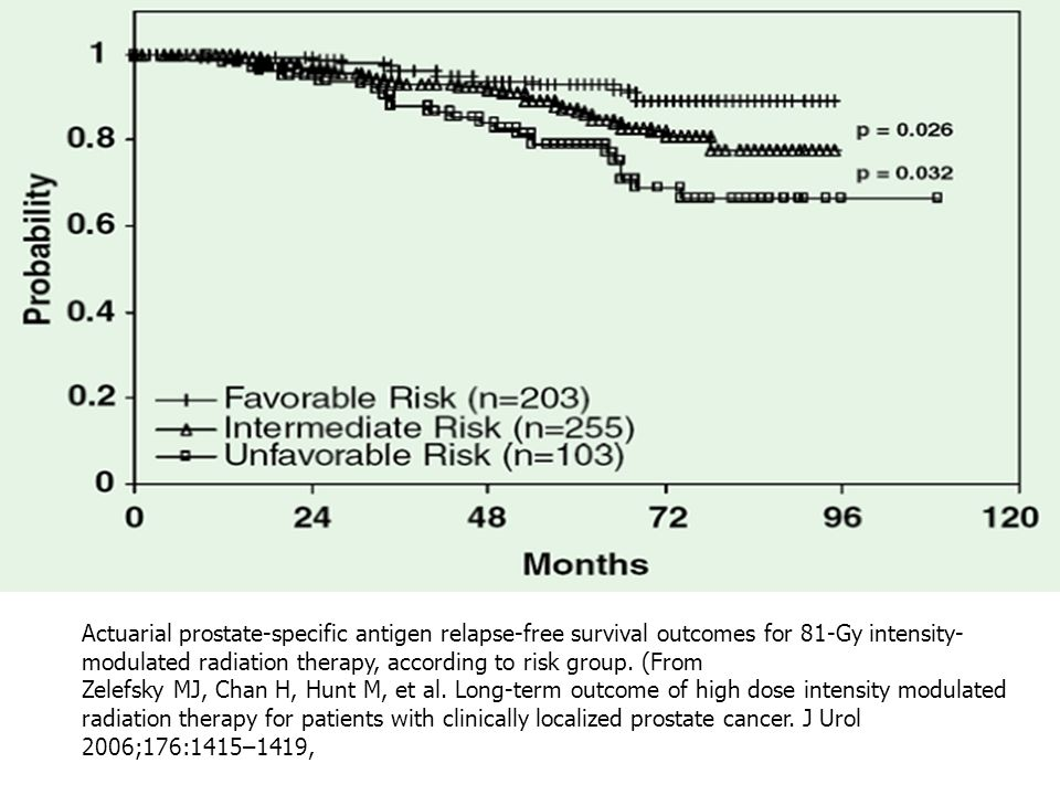 Actuarial prostate-specific antigen relapse-free survival outcomes for 81-Gy intensity- modulated radiation therapy, according to risk group.