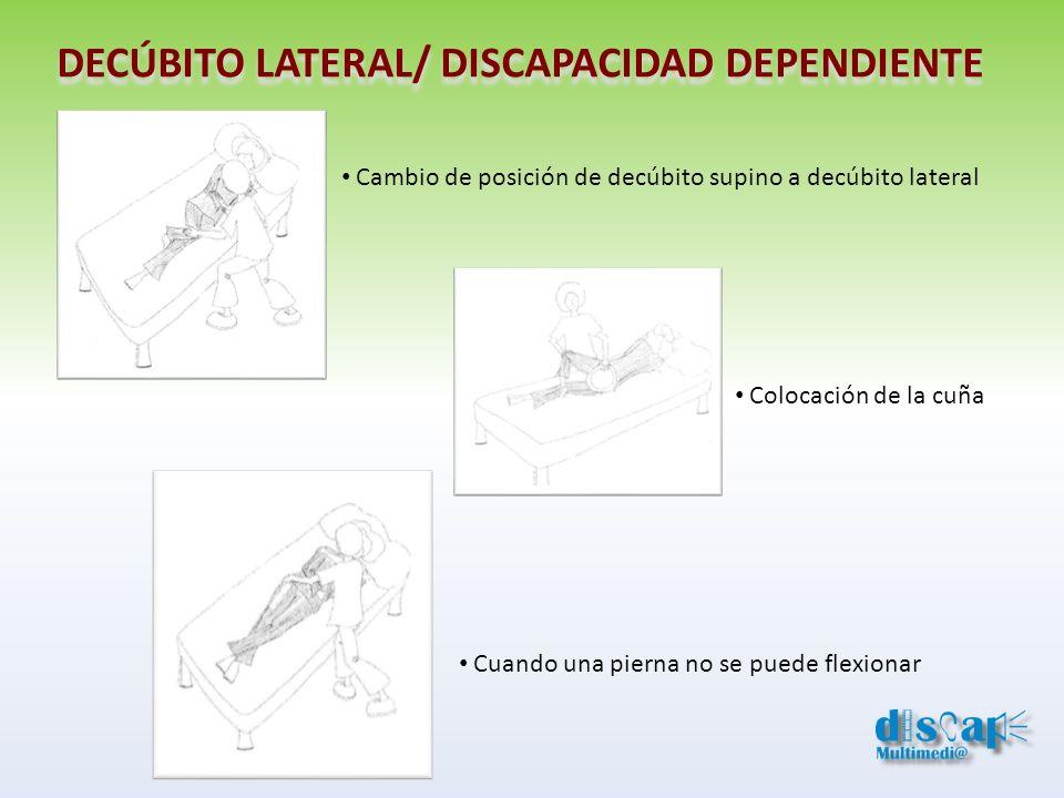 Cambio de posición de decúbito supino a decúbito lateral DECÚBITO LATERAL/ DISCAPACIDAD DEPENDIENTE Colocación de la cuña Cuando una pierna no se pued