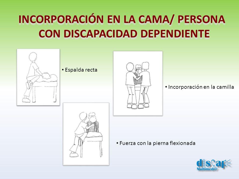 INCORPORACIÓN EN LA CAMA/ PERSONA CON DISCAPACIDAD DEPENDIENTE INCORPORACIÓN EN LA CAMA/ PERSONA CON DISCAPACIDAD DEPENDIENTE Espalda recta Incorporac