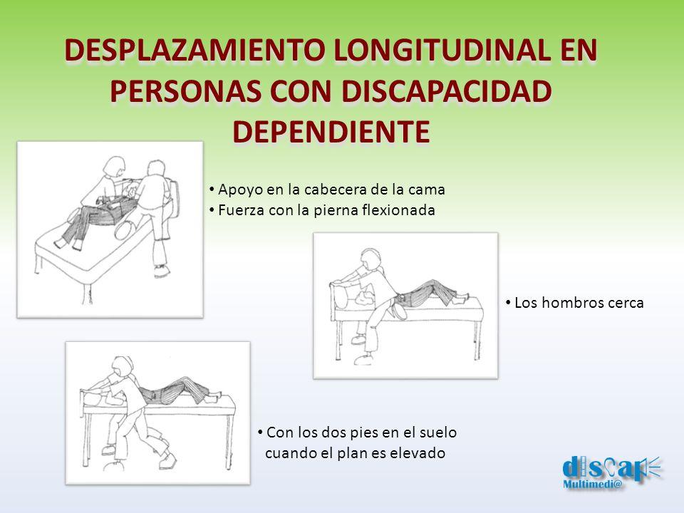 DESPLAZAMIENTO LONGITUDINAL EN PERSONAS CON DISCAPACIDAD DEPENDIENTE Apoyo en la cabecera de la cama Fuerza con la pierna flexionada Los hombros cerca