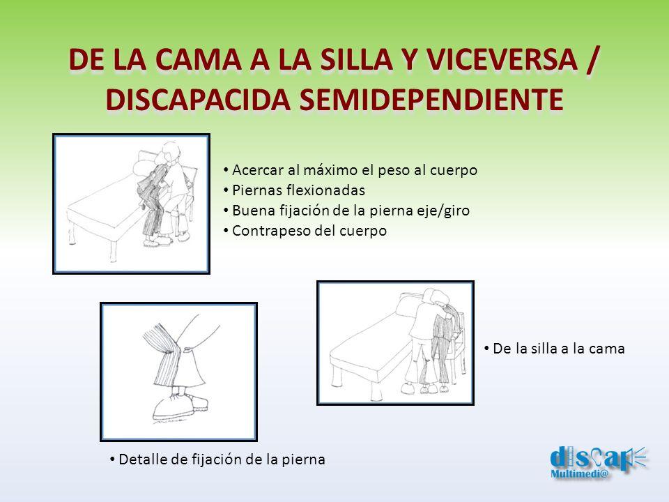 DE LA CAMA A LA SILLA Y VICEVERSA / DISCAPACIDA SEMIDEPENDIENTE Detalle de fijación de la pierna Acercar al máximo el peso al cuerpo Piernas flexionad