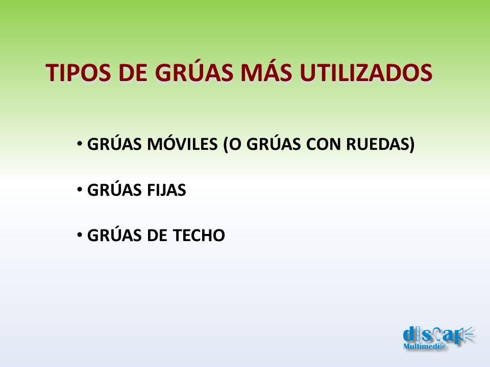TIPOS DE GRÚAS MÁS UTILIZADOS GRÚAS MÓVILES (O GRÚAS CON RUEDAS) GRÚAS FIJAS GRÚAS DE TECHO