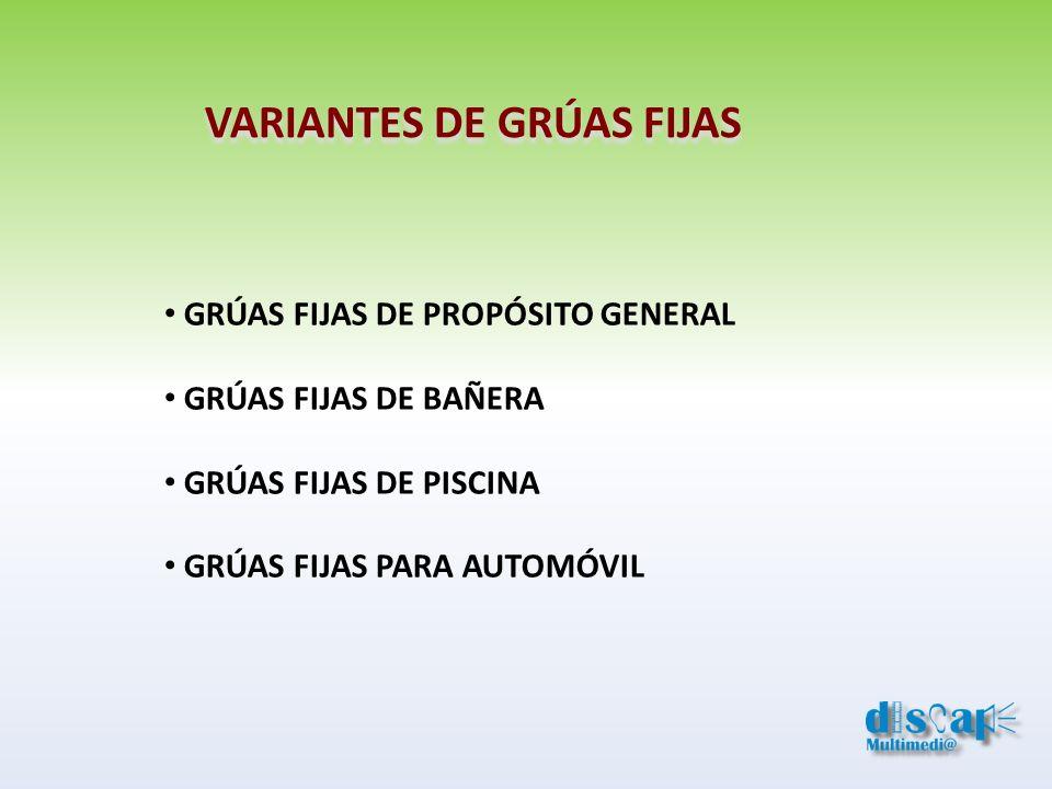 VARIANTES DE GRÚAS FIJAS GRÚAS FIJAS DE PROPÓSITO GENERAL GRÚAS FIJAS DE BAÑERA GRÚAS FIJAS DE PISCINA GRÚAS FIJAS PARA AUTOMÓVIL