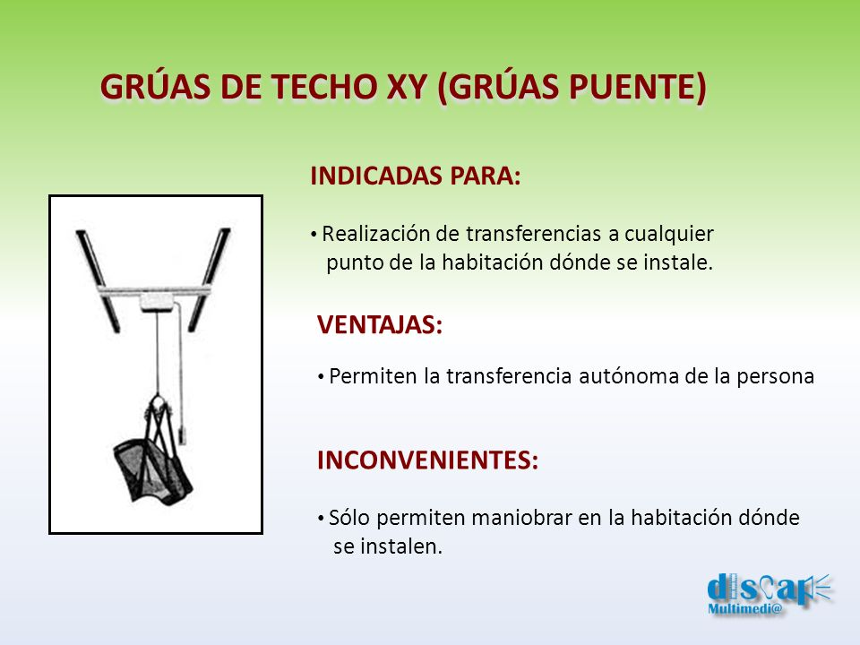 GRÚAS DE TECHO XY (GRÚAS PUENTE) INDICADAS PARA: Realización de transferencias a cualquier punto de la habitación dónde se instale. VENTAJAS: Permiten