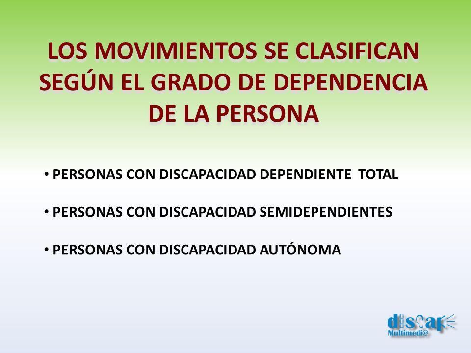 LOS MOVIMIENTOS SE CLASIFICAN SEGÚN EL GRADO DE DEPENDENCIA DE LA PERSONA PERSONAS CON DISCAPACIDAD DEPENDIENTE TOTAL PERSONAS CON DISCAPACIDAD SEMIDE