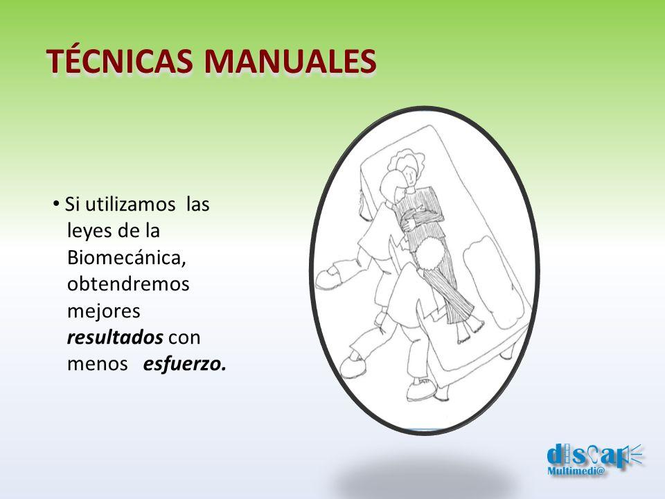 TÉCNICAS MANUALES Si utilizamos las leyes de la Biomecánica, obtendremos mejores resultados con menos esfuerzo.