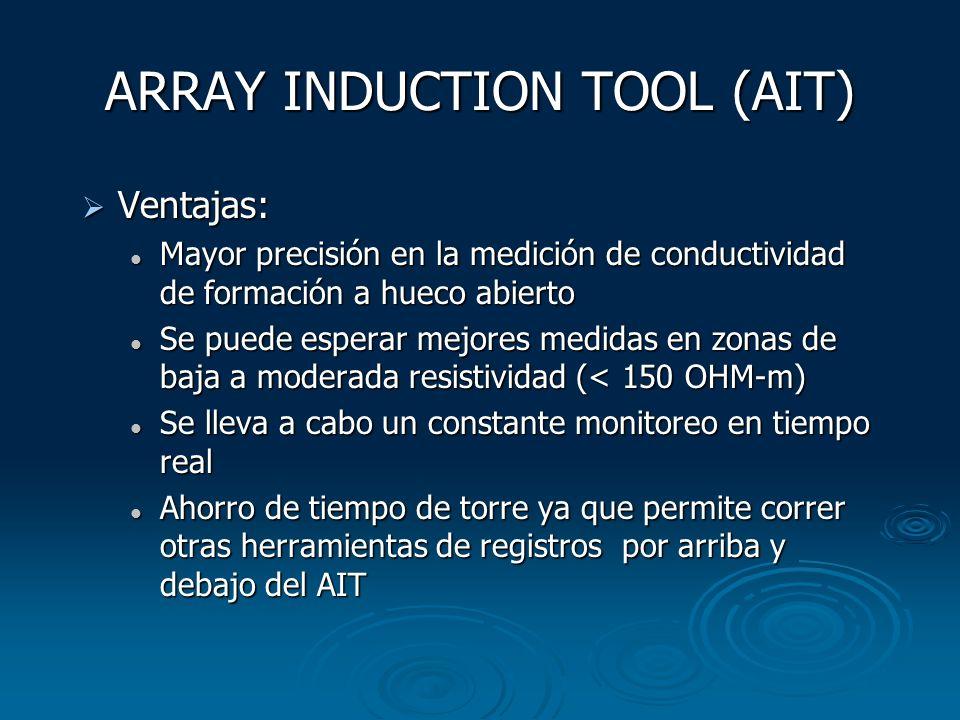 ARRAY INDUCTION TOOL (AIT) Ventajas: Ventajas: Mayor precisión en la medición de conductividad de formación a hueco abierto Mayor precisión en la medi