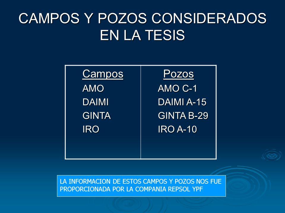 CAMPOS Y POZOS CONSIDERADOS EN LA TESIS CamposAMODAIMIGINTAIROPozos AMO C-1 DAIMI A-15 GINTA B-29 IRO A-10 LA INFORMACION DE ESTOS CAMPOS Y POZOS NOS