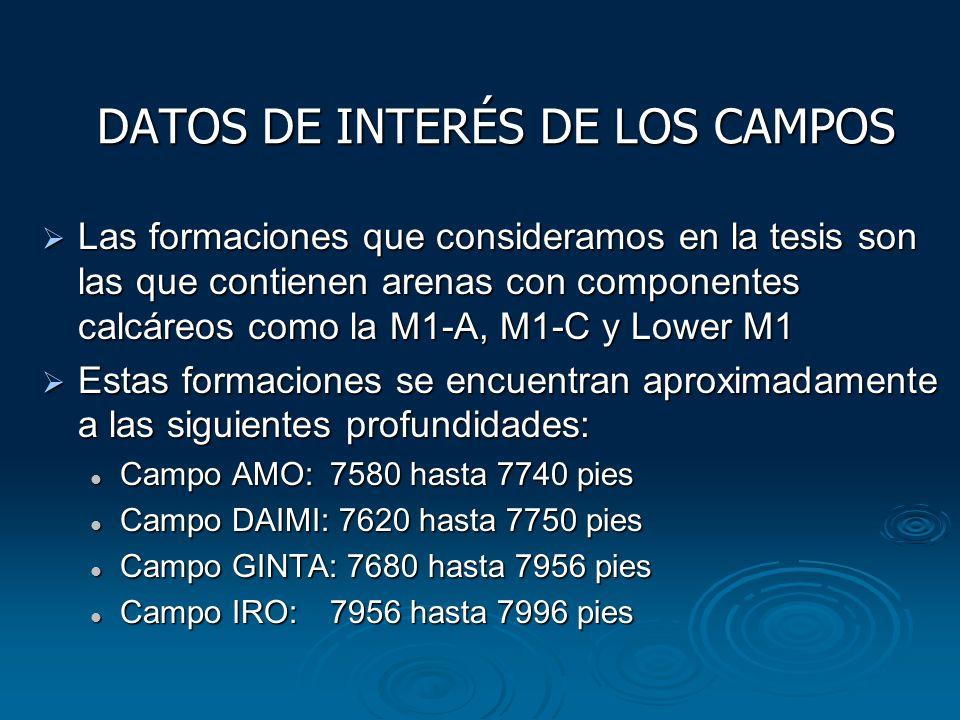 DATOS DE INTERÉS DE LOS CAMPOS Las formaciones que consideramos en la tesis son las que contienen arenas con componentes calcáreos como la M1-A, M1-C