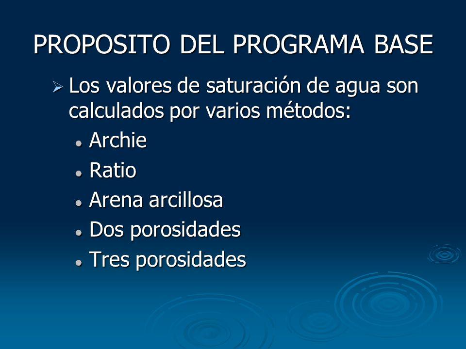 PROPOSITO DEL PROGRAMA BASE Los valores de saturación de agua son calculados por varios métodos: Los valores de saturación de agua son calculados por