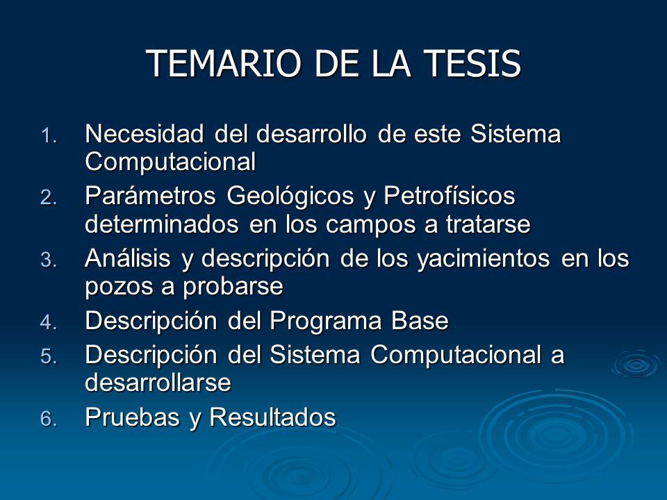 TEMARIO DE LA TESIS 1. Necesidad del desarrollo de este Sistema Computacional 2. Parámetros Geológicos y Petrofísicos determinados en los campos a tra