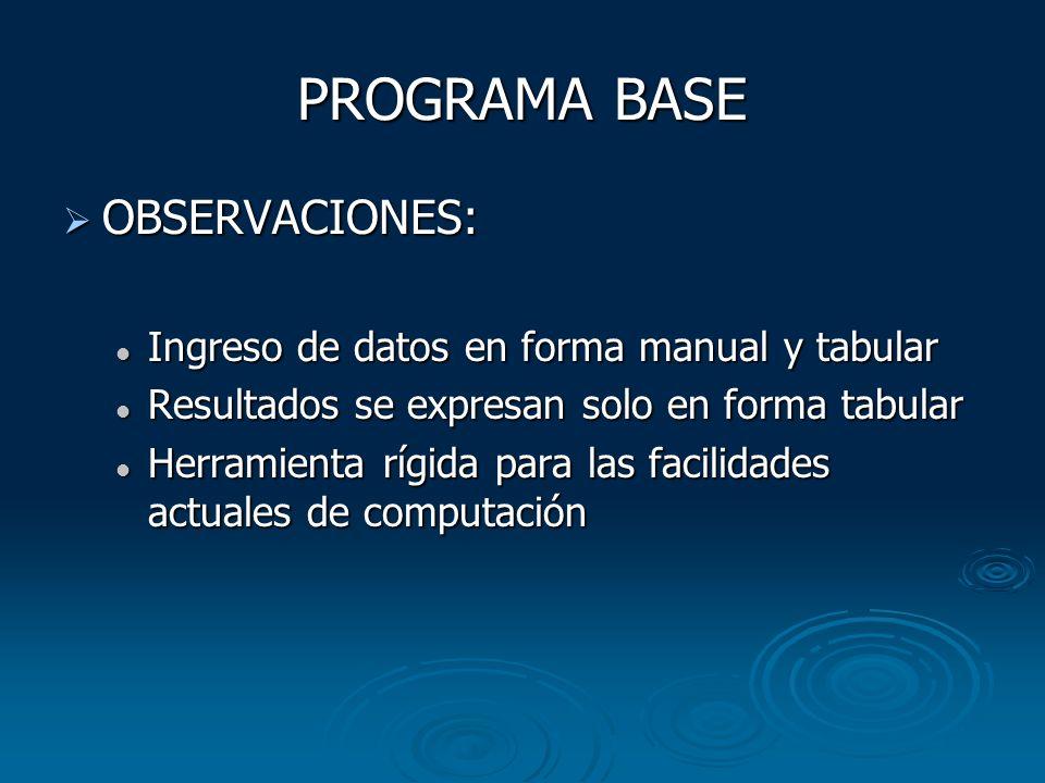 PROGRAMA BASE OBSERVACIONES: OBSERVACIONES: Ingreso de datos en forma manual y tabular Ingreso de datos en forma manual y tabular Resultados se expres