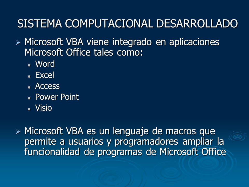 SISTEMA COMPUTACIONAL DESARROLLADO Microsoft VBA viene integrado en aplicaciones Microsoft Office tales como: Microsoft VBA viene integrado en aplicac
