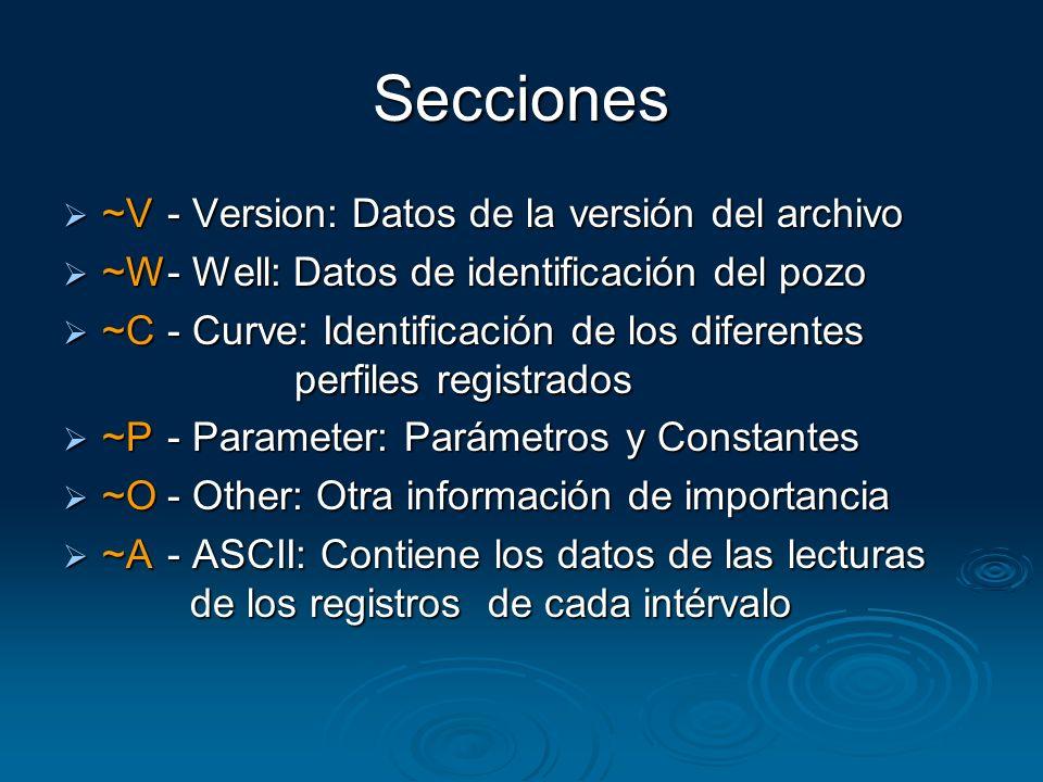 Secciones ~V- Version: Datos de la versión del archivo ~V- Version: Datos de la versión del archivo ~W- Well: Datos de identificación del pozo ~W- Wel