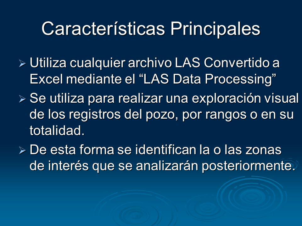 Características Principales Utiliza cualquier archivo LAS Convertido a Excel mediante el LAS Data Processing Utiliza cualquier archivo LAS Convertido