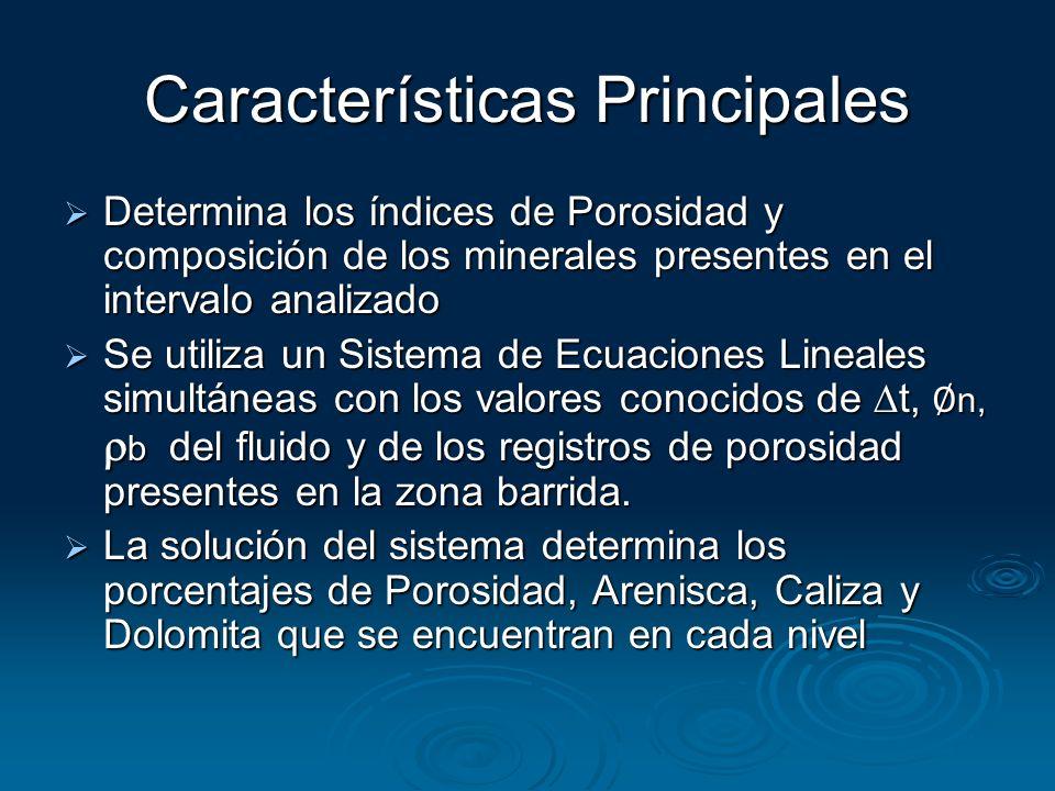 Características Principales Determina los índices de Porosidad y composición de los minerales presentes en el intervalo analizado Determina los índice