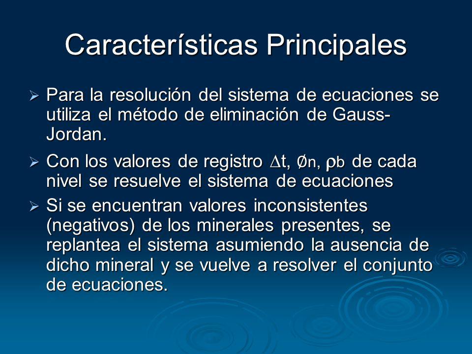 Características Principales Para la resolución del sistema de ecuaciones se utiliza el método de eliminación de Gauss- Jordan. Para la resolución del