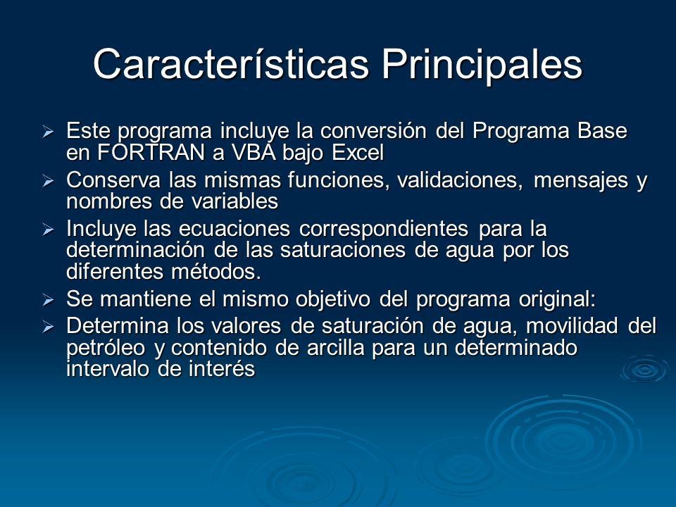 Características Principales Este programa incluye la conversión del Programa Base en FORTRAN a VBA bajo Excel Este programa incluye la conversión del
